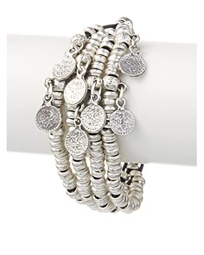 Turkish Delight Silver Hoop and Coin Bracelet As You See
