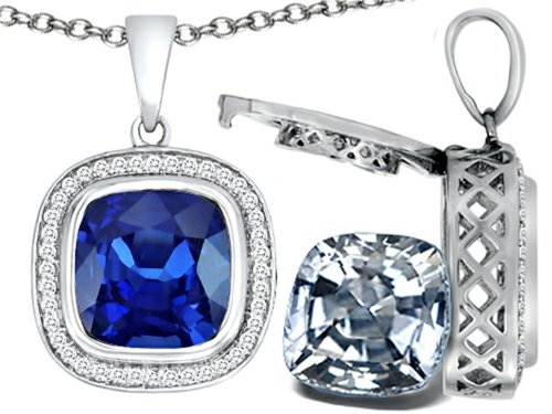 Switch-It Gems 2in1 Cushion 10mm Simulated Sapphire Pendant Necklace with Simulated White Topaz Include Sterling Silver (Switch Gem Necklace compare prices)