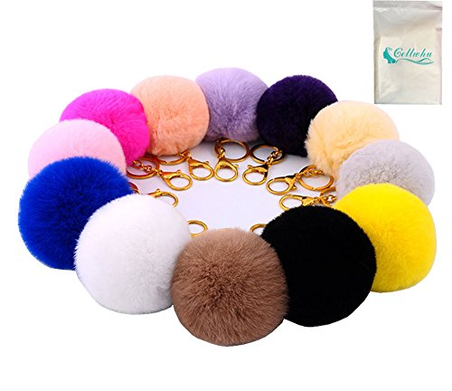 Gellwhu 12pcs Genuine Rabbit Fur Ball Charm Key Chain for Car Key Ring Bag (Key Package compare prices)
