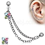 Flower Cz Double Chained Cartilage Earring