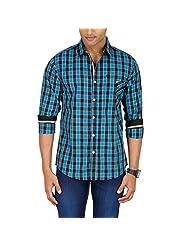 Sleek Line Men's Banded Collar Cotton Shirt - B00TRU6I5A