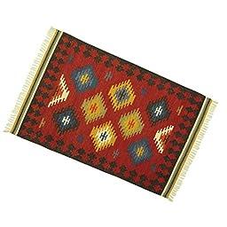 Hand Woven American Navajo Pattern Mat Jute Cotton Rug Rag Carpet Floor Runner 59\