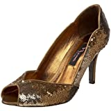 Nina Women's Florina Open-Toe Pump,Chocolate,10 M US