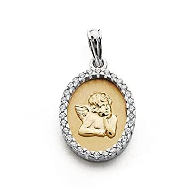 18k bicolor gold medal Cherub 20mm. oval zircons [AA7269]