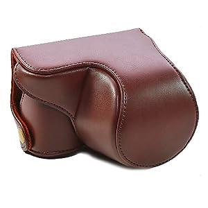 CamRepublic® Nouvelle poche en cuir brun de cas de sac de couverture pour Sony NEX3N, NEX 3N, NEX-3N