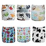 Alva baby cada paquete tiene 6pcs pañal y 2 inserciones ajustado pañal lavable de tela (color para niños 3) 6DM03-ES