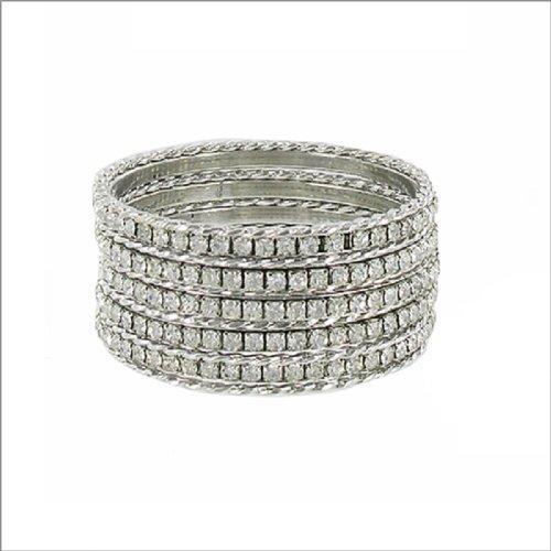 JOA Twist Texture & Stone Bangle Bracelet #040496