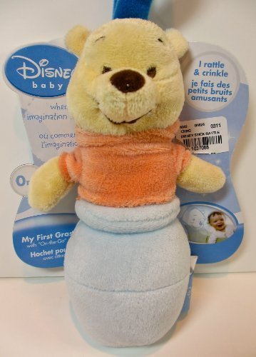 Disney Baby Winnie the Pooh Plush Rattle,my First Grasp,on the Go Strap Attachment
