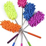 Duster Extendable - 5 Set - Non-Scratchy & Anti-Static - Frans Essentials Retractable Long-Reach Washable Dusting Brush Kit with Telescoping Pole - Use for Cars, High Ceilings & More!