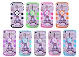 iPod Touch 5th Generation Case,Lantier 3 Layers Hybrid Soft Silicone Hard Plastic Quakeproof Drop Resistance Protective Case Cover For iPod Touch 5 With Butterfly and Eiffel Tower Pattern Hot Pink