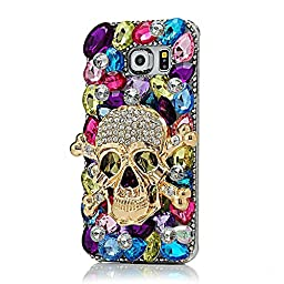 Samsung Galaxy S7 Edge Case, Sense-TE Luxurious Crystal 3D Handmade Sparkle Diamond Rhinestone Clear Cover with Retro Bowknot Anti Dust Plug - Skull / Colorful