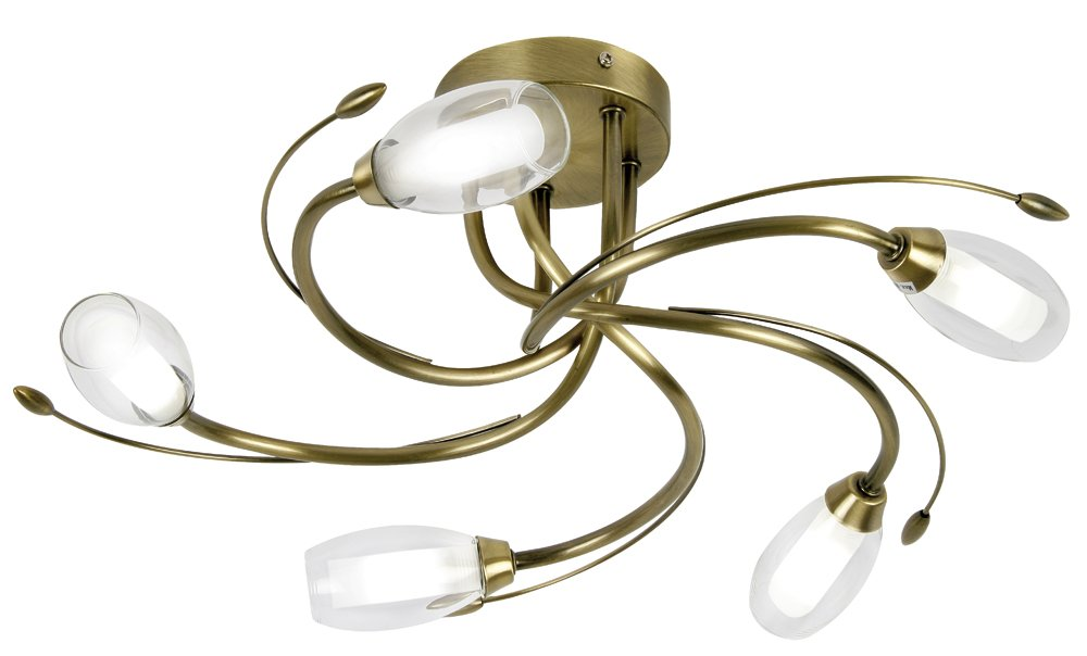 Pandora ceiling fitting in antique brass finish complete with clear and opal glass shades       reviews and more information