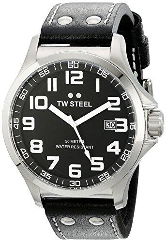 TW Steel Unisex TW409 Pilot Analog Display Quartz Black Watch