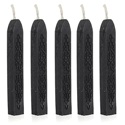 V-Dragon 5Pcs V-Dragons Manuscript Sealing Seal Wax Sticks Wicks for Invitations Envelope Letter (Black) (Waxing Seal compare prices)
