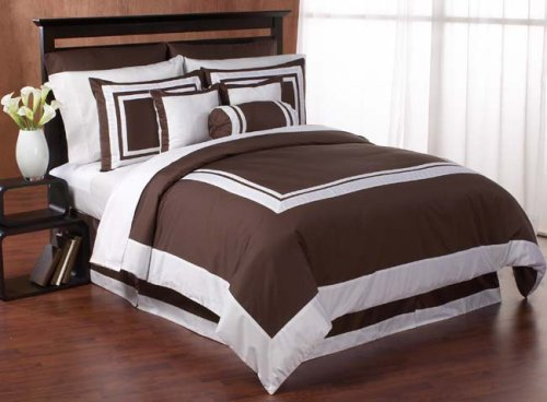 Chocolate and White Hotel Duvet Comforter Cover 6 piece Bedding Set - Available in King and Queen