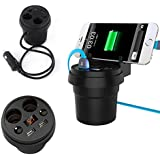 Generic Car Charger Mount 2 Cigarette Lighter Socket Stand Dual USB Charging Cup Holder