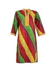Karni Women's Cotton Green & Red & Yellow Kurti