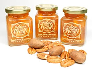 Peach Pecan and Amaretto Preserves - 3 Pk, By The Great San Saba River Pecan Company