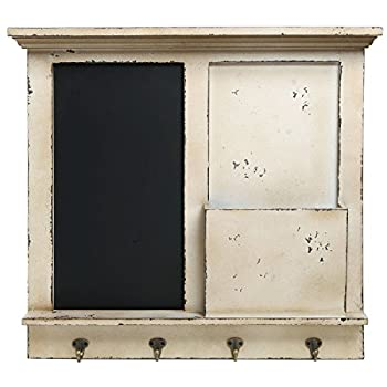 Vintage Wood Wall Mounted Chalkboard Rack, Magazine Holder / Mail Sorter Basket, 4 Coat / Key Hooks