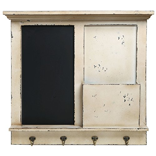 Vintage Wood Wall Mounted Chalkboard Rack, Magazine Holder / Mail Sorter Basket, 4 Coat / Key Hooks 1
