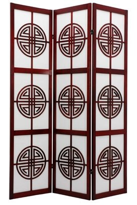 3 Panel Black Oriental Furniture Modern Furniture 6-Feet Helsinki Fabric Japanese Privacy Screen Room Divider