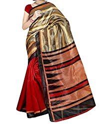 RGR Enterprice Woman's Bhagalpuri Designer Saree (Swarg Print_Multi-Coloured_Free Size)
