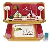 秀光オリジナル限定品 雛人形木目込親王コンパクト収納飾りセット やわらかなお顔と切り嵌めで縁取られた優しい色合いの木目込人形を六角収納型飾り台に収納