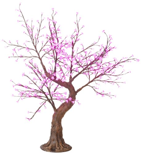 Arclite Nbl-B145-2 Bonsai Cherry Blossom Tree With Leaves, 5' Height, With Natural Brown Trunk, Pink Crystals And Pink Lights