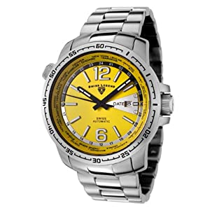 Mens 10013A-77 World Timer Collection Automatic Stainless Watch with Winder