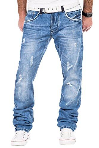 L.A.B 1928 Herren Jeans dicke Nähte Chino Hose Clubwear Cargo Hellblau Blau / W29 - W40 / LAB-203 (W38/L32)