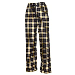 Boxercraft Flannel Pants Elastic Waist with Tie Cord and Pockets, (Large - Black/Gold)