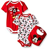 Disney Baby Mickey Mouse 2 Pack Bodysuit with Bib, Multi/Red, 3/6 Months
