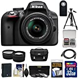 Nikon D3300 Digital SLR Camera & 18-55mm G VR DX II AF-S Zoom Lens (Black) with 32GB Card + Battery + Case + Tripod...