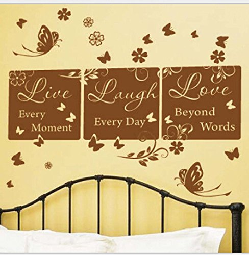 Live Love Laugh House Art Wall Quotes Butterfly Wall Decal Sticker Living Room Stickers Brown Color Vinyl Removable (Brown Butterfly Decals compare prices)
