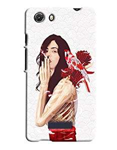 Blue Throat Girl Smoking Hard Plastic Printed Back Cover/Case For Micromax Unite 3