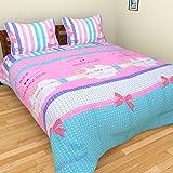 BRiDA Polycotton Double Bedsheet - 225 Cm X 225 Cm, Pink
