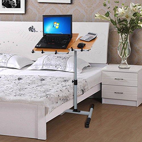 Songmics Scrivania per computer Scrivania ufficio porta PC Tavolo per Computer Altezza Regolabile Con Ruote Faggio Rosso LCD10R