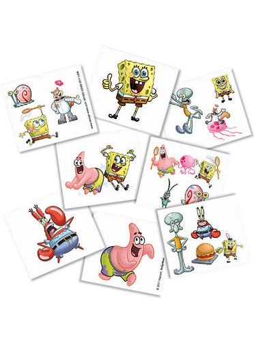 Amscan Unisex Adult Spongebob Squarepants Tattoos Black Medium
