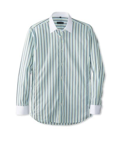 Jared Lang Men's Striped Long Sleeve Shirt with Contrast Collar and Cuff