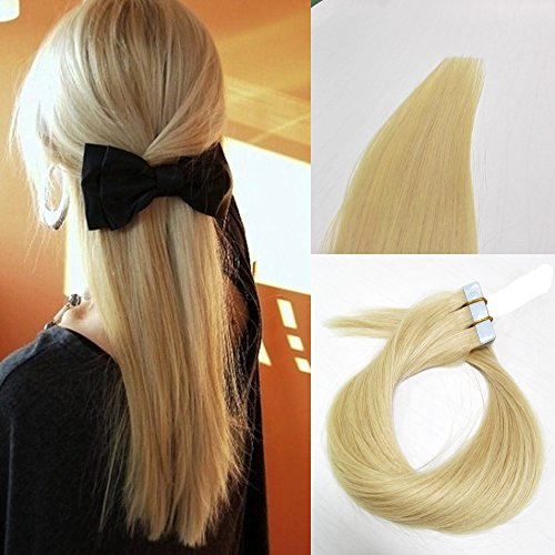 Betty tape In Human Hair Extensions - 16 18 20 22 24 Inch 20pcs 30g-70g Set - Silky Straight Skin Weft Human Remy Hair (16 inch, #60)
