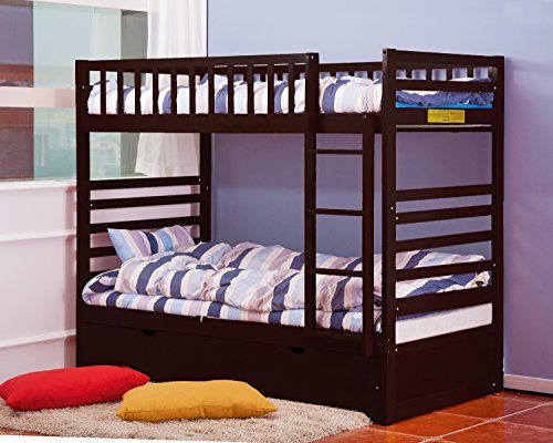 Merax Twin Over Twin Bunk Bed with Trundle in Espresso Finish (Furniture Bunk Bed Parts compare prices)