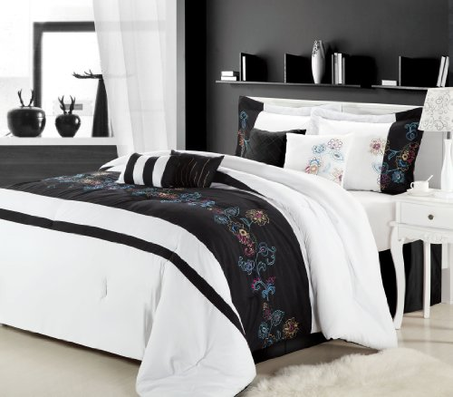 Chic Home 8-Piece Nori Embroidered Comforter Set, Queen, Black/White