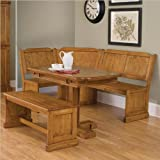 Home Styles 5004-80038 Americana Corner Bench and Rectangular Nook Dining Table Set, Distressed Oak Finish