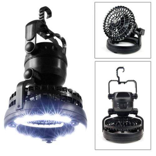 Foxnovo 2-In-1 Multi-Functional Weather Resistant 18-Led Camping Tent Light Lamp With Ceiling Fan (Black)