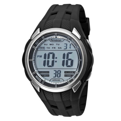 Armitron Men's 408153BLK Chronograph Black Round Dial Digital Sport Watch