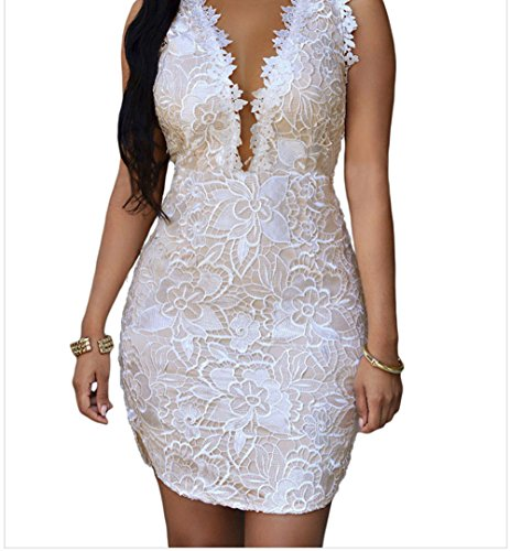 Christmas TomYork Lace Nude Mesh Accent Dress(White,L)