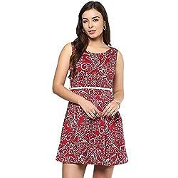 STYLEBAY Women Red, Maroon Printed Skater Dress (CSD005, Small)