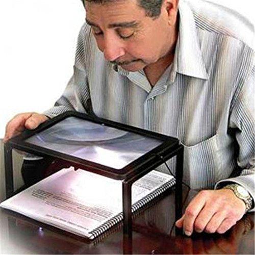 3X Mains libres géants table de bureau Loupe Magnifier pour la lecture LED