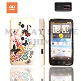 htc EVO 3Dケース stylish design silicon Case (au ISW12HT対応)【Butterfly Flower (蝶花)】+ 液晶保護フィルム1枚