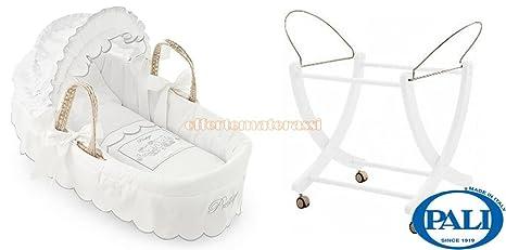 Cesta porta enfant Pali Prestige in vimini bianca con capote + Base Bianca
